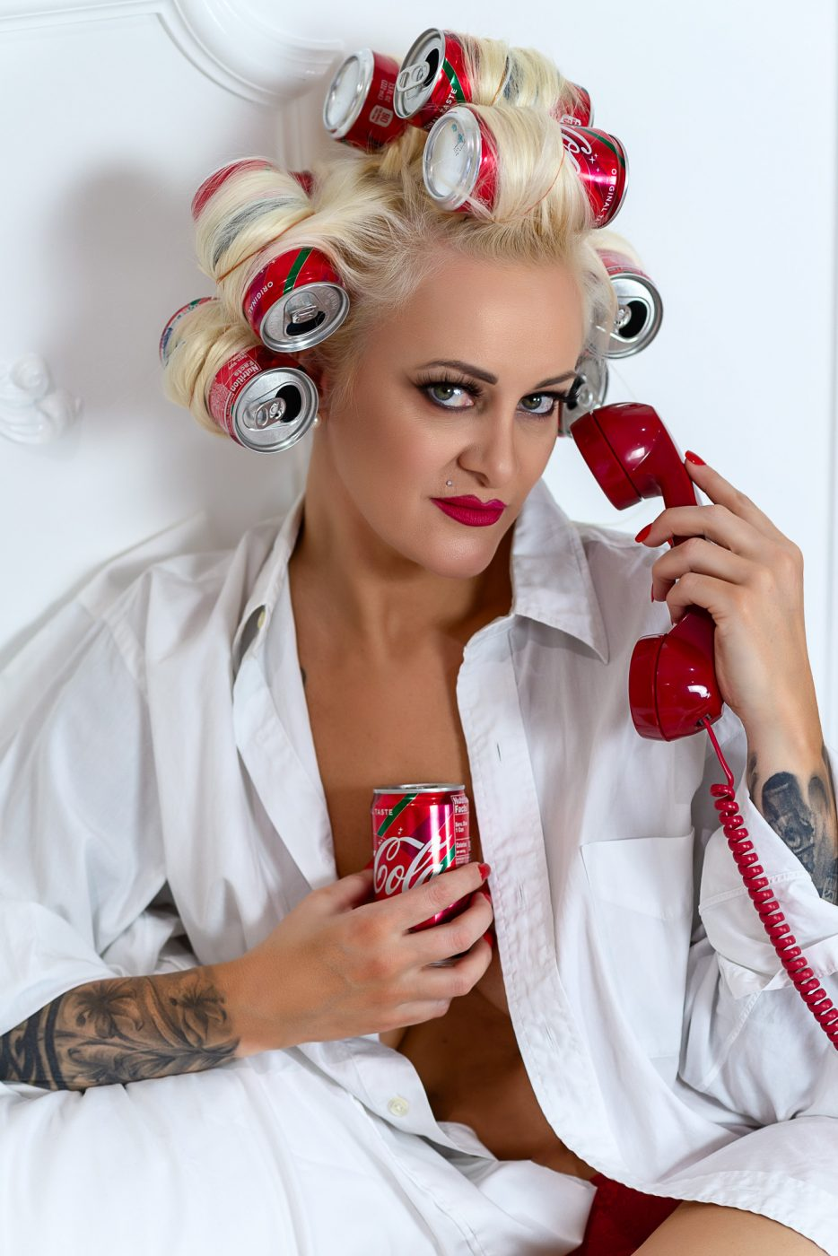 Coca Cola curlers Red Polish for the Best Boudoir Session